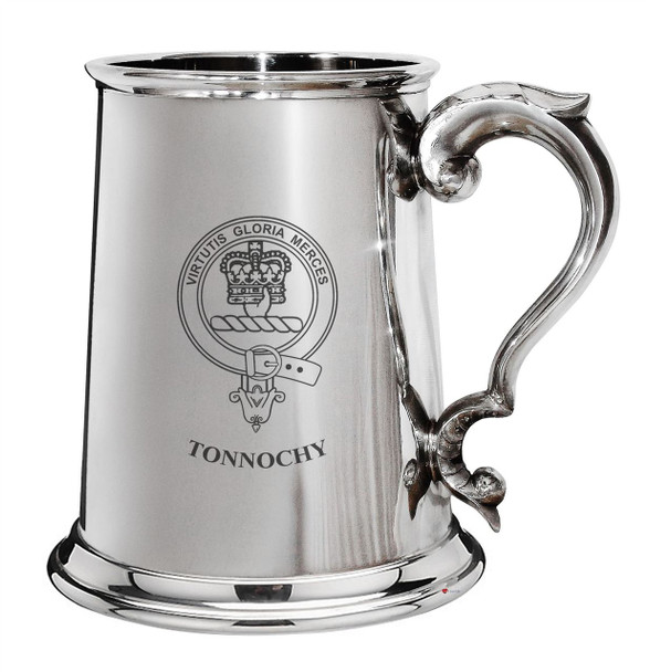 Tonnochy Family Crest Polished Pewter 1 Pint Tankard with Scroll handle