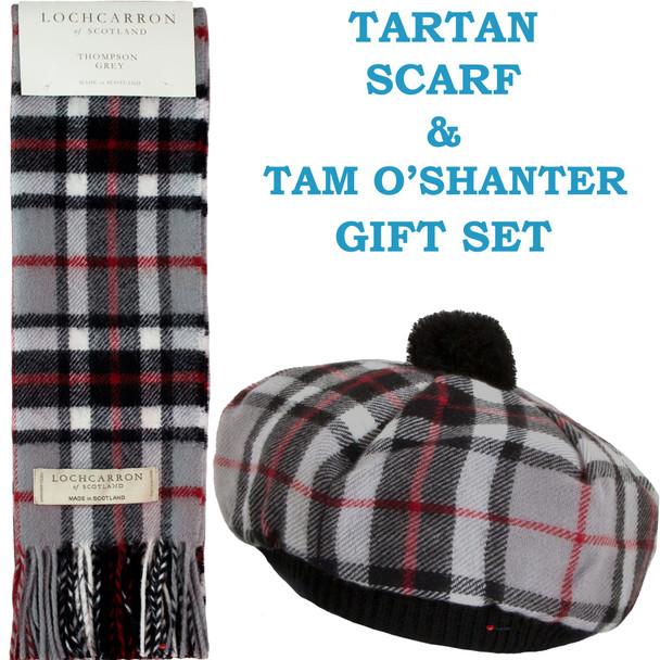 Tam O' Shanter Hat and Scarf Set Lambswool Thompson Grey Tartan