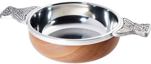 Wood And Pewter Quaich Medium Scottish Tasting Bowl Ideal Christening Gift