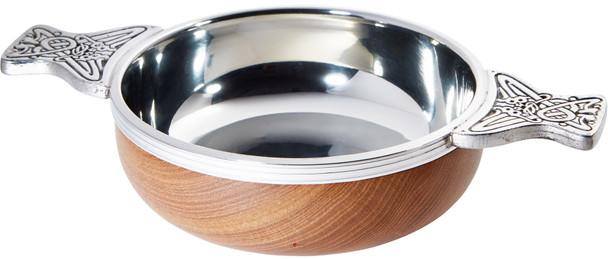 Wood And Pewter Quaich Medium Scottish Tasting Bowl Ideal Christening Gift