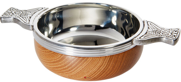 Wood And Pewter Quaich Standard Scottish Tasting Bowl Ideal Christening Gift