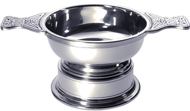 Quaich Scottish Pewter Large Plus Size 135mm With Plinth Tasting Bowl Ideal Christening Gift
