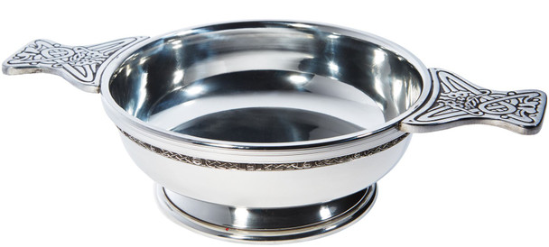 Pewter Quaich Scottish Celtic Band Extra Large Size Tasting Bowl Ideal Christening Gift Engravable