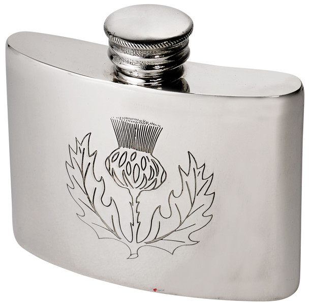Hip Flask 2oz Scottish Thistle Pewter Kidney Ideal for Engraving