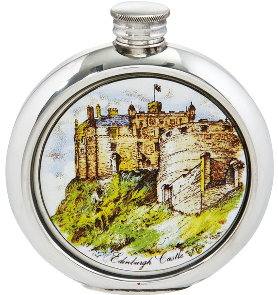 Round Hip Flask Edinburgh Castle Picture 6oz Ideal for Engraving