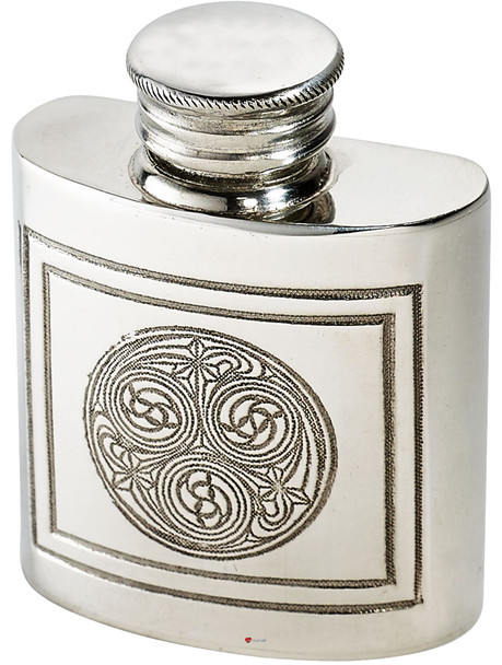 1oz Purse size Kells Embossed Flask Kidney Shape