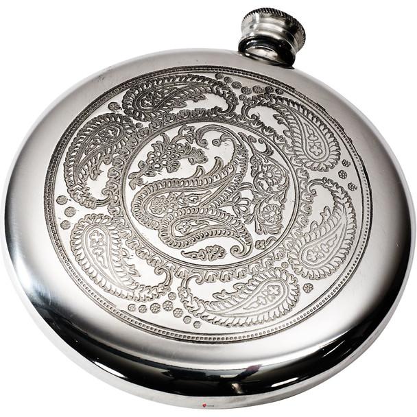 Round Hip Flask Scottish Sporran Flask 4oz Paisley Design Ideal for engraving