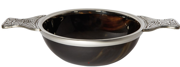 160mm Horn and Pewter Scottish Quaich Cup of Friendship Ideal Christening Gift