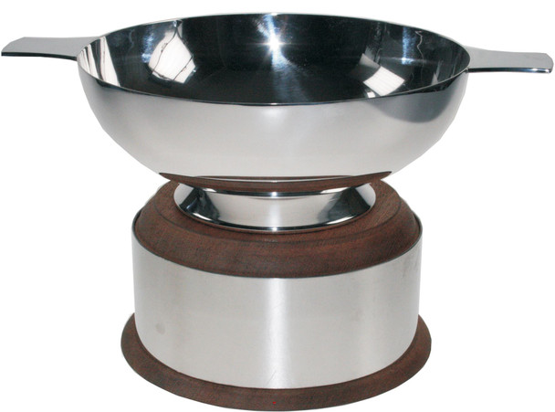 "Silver Plated Scottish 2"" Quaich Plain Handle On Wooden Plinth Ideal Wedding Gift Engravable"