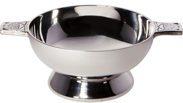 "Silver Plated Scottish 2"" Quaich Celtic Handle Cup of Friendship Ideal Wedding Gift Engravable"