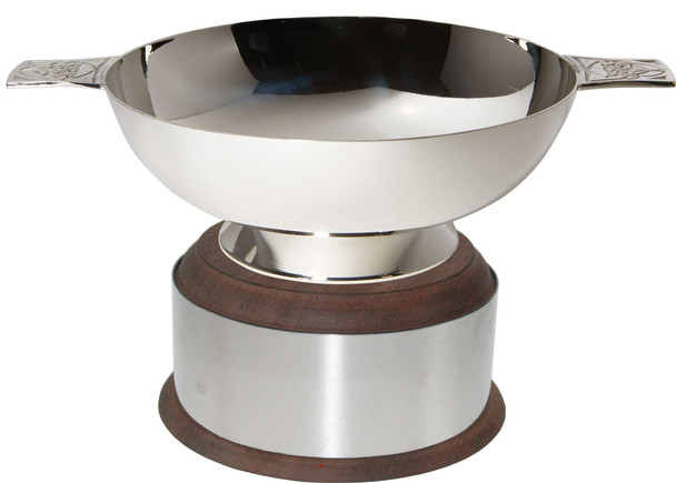 """Silver Plated Scottish 5"""" Quaich Celtic Handle On Wooden Plinth Ideal Wedding Gift Engravable"""