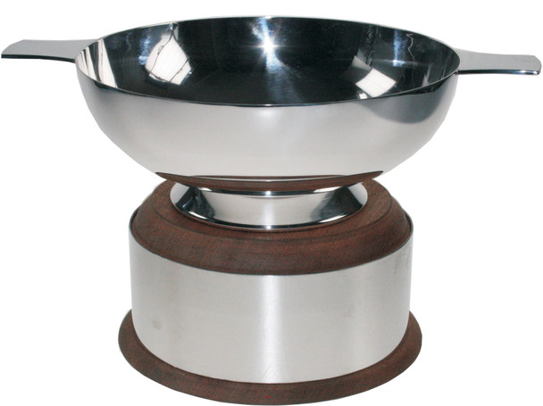 "Silver Plated Scottish 4"" Quaich Plain Handle On Wooden Plinth Ideal Wedding Gift Engravable"