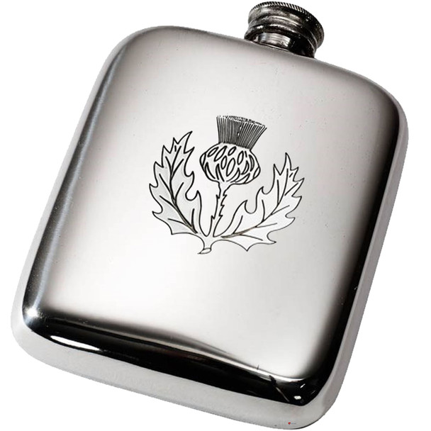 4oz.Pocket Hip Flask Scottish Thistle Ideal For Engraving