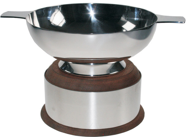 "Silver Plated Scottish 6"" Quaich Plain Handle On Wooden Plinth Ideal Wedding Gift Engravable"