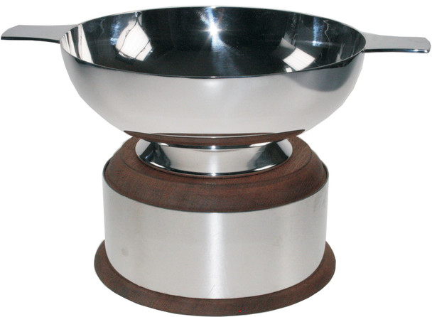 "Silver Plated Scottish 5"" Quaich Plain Handle On Wooden Plinth Ideal Wedding Gift Engravable"