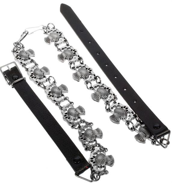 Fancy Sporran Chain Belt Thistle Jet Black