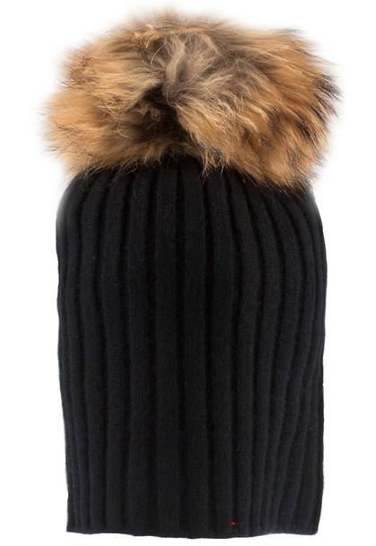 Luxurious Cashmere Pom Pom Hat Rib Style With Detachable Pom Pom