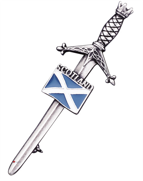 Scottish Accessories Kilt Pin & Carry Pouch Pewter Saltire Flag Antique Finish Gift from Scotland