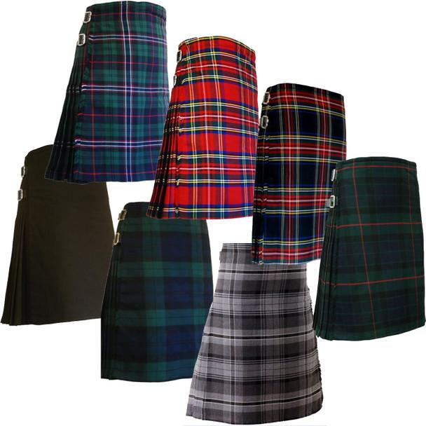 Men's 8 Yard Highland Tartan Pleated Kilt with 24 Inch Drop