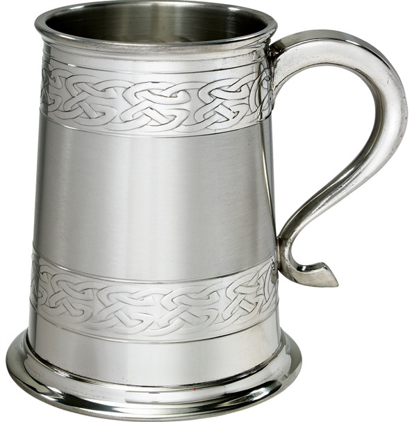 1 Pint Pewter Tankard With Satin Band and Celtic Band Design