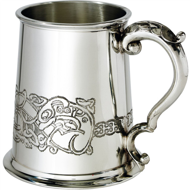 1 Pint Pewter Tankard with Celtic Dragon Design Scroll Handle