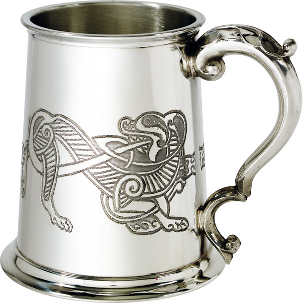 1 Pint Pewter Tankard With Celtic Lion Design Scroll Handle