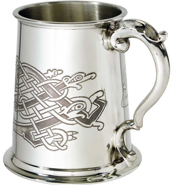 1 Pint Pewter Tankard with Celitc Birds Design Scroll Handle