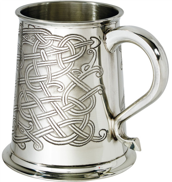 1 Pint Pewter Tankard with Celtic Knot Design Swan Handle