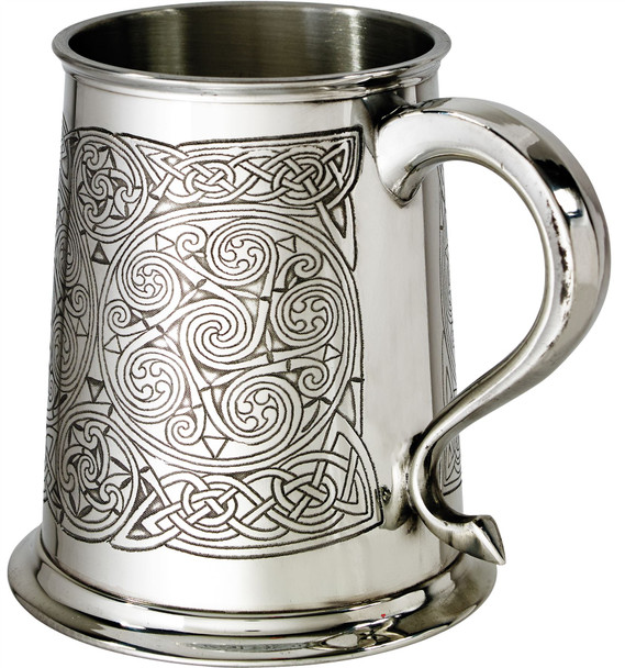 1 Pint Pewter Tankard with Celtic Spirals Design Swan Handle