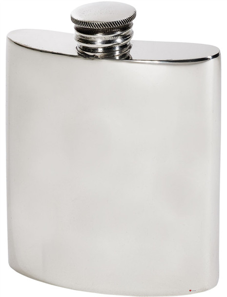 Kidney Shape Flask 3oz Pewter in Plain Polished Finish