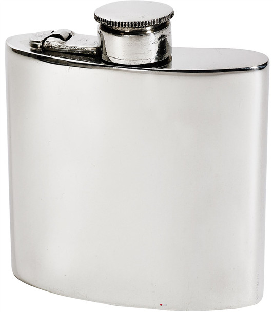 Kidney Shape Flask 4oz Pewter in Plain Polished Finish with Captive Top