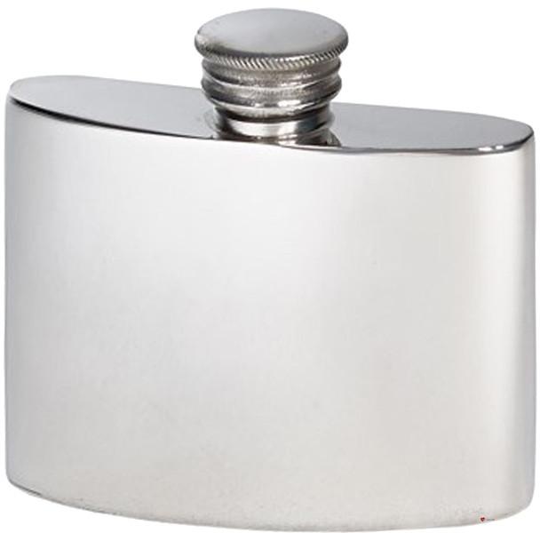 Kidney Shape Flask 2oz Pewter in Plain Polished Finish