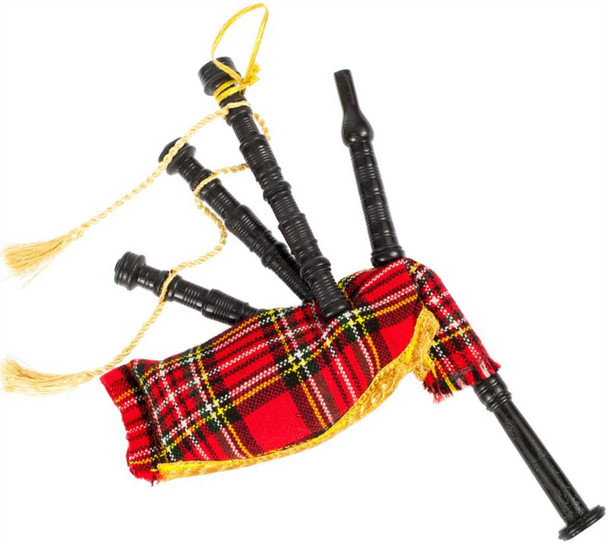 Small Bagpipes Ornamental Decoration In Stewart Royal Tartan Design