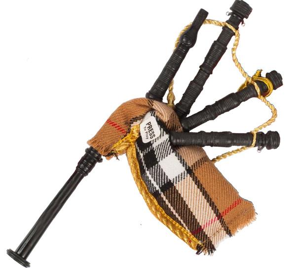 Small Bagpipes Ornamental Decoration In Thomson Camel Tartan Design