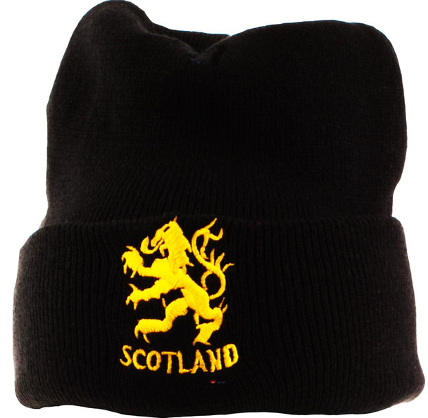 Gold Lion Scotland Beanie Hat Black Unisex