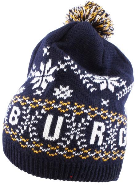 Edinburgh Pom Pom Beanie Snowflake Pattern Ski Winter Hat Peruvian Style Scottish Gift