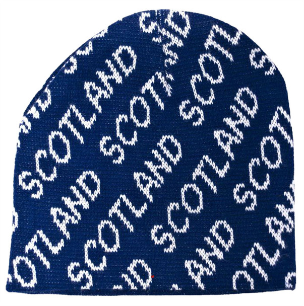 Beanie Hat White Scotland Print Navy Ski Winter Scottish Gift