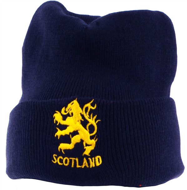 Gold Lion Scotland Beanie Hat Navy Unisex