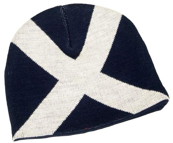 Saltire Flag Scotland Beanie Winter Ski White Blue Hat Scottish Gift