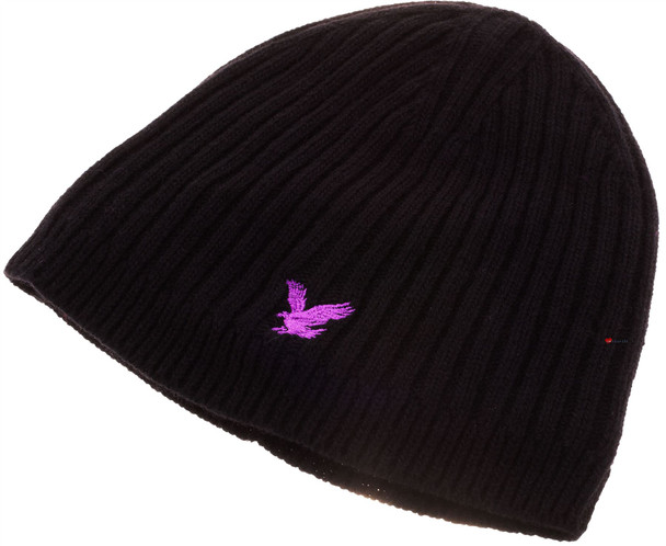 Lyle & Scott Cashmere Blend Beanie In Ribbed Style Black