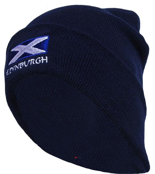 Edinburgh Saltire Beanie Hat Navy Unisex
