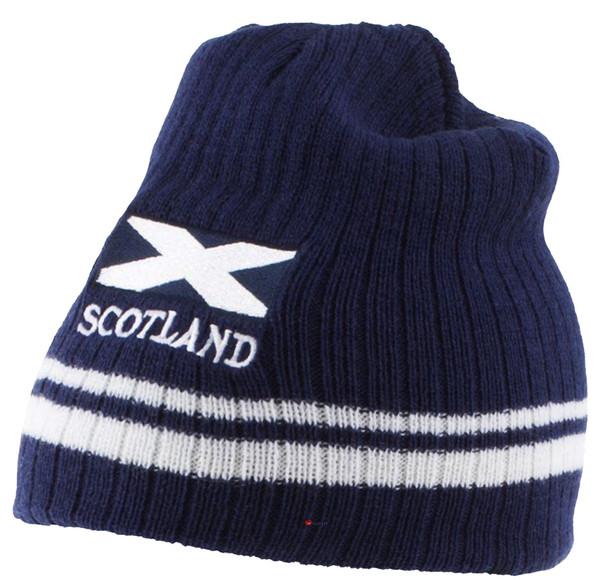 Saltire Flag Scotland Ribbed Beanie Winter Ski Hat Striped Navy White Scottish Gift