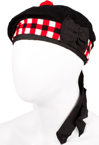 Balmoral Black Red Diced Hat