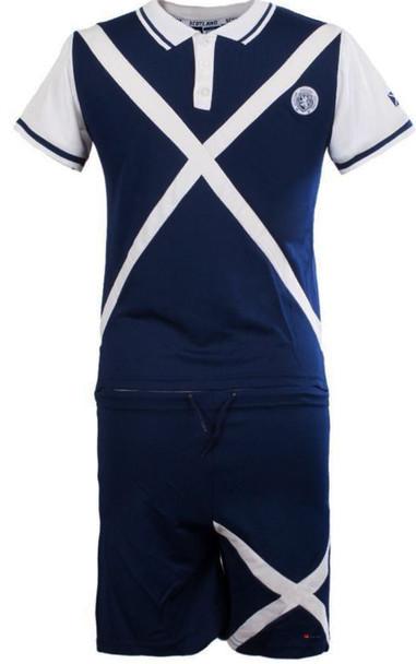 Kids Saltire Scotland Football Top Navy