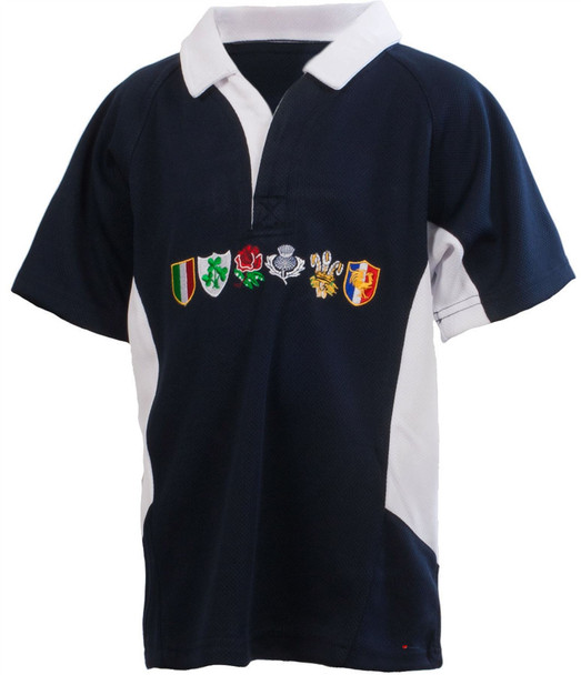 Kids Six Nations Logo Rugby Shirt Scot Navy