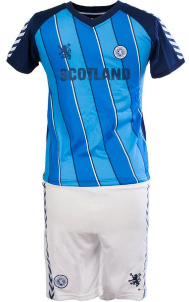 Kids Striped Scotland Football Top Navy-Sky Blue
