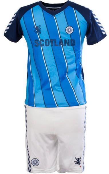 Kids Striped Scotland Football Top Navy-Sky Blue