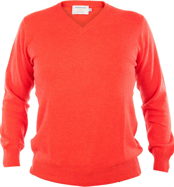 Mens Merino Wool Sweater V-Neck Orange