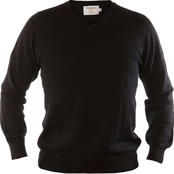 Mens Merino Wool Sweater V-Neck Black