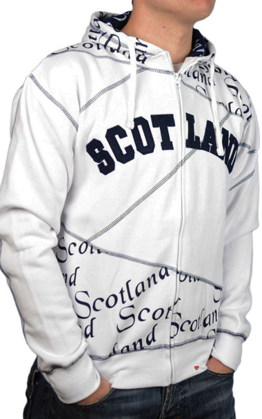 Zipper Top Scotland Scroll Hoodie